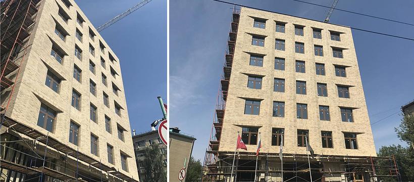Первый многоэтажный дом вРоссии сиспользованием кирпича Engels